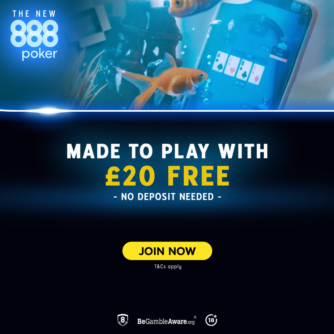 Banner displaying new player offer at 888Poker - terms and conditions apply of course
